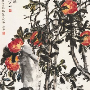 "19 Wu Changshuo, ""The Peach Fruits of Three Thousands of Years"", Chinese painting, 96.5 x 44.5 cm, 1918"