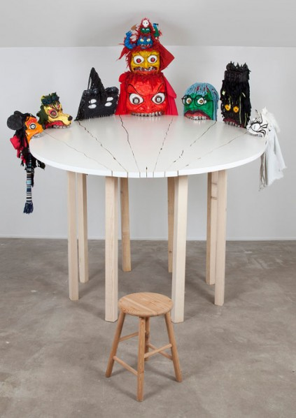 Gao Jie, Be out of Control, 2013; Materials: Wood, parget, clothes, knife, fork, spoon, leaf, card, acrylic paint Dimension: 230x250x270cm © Gao Jie