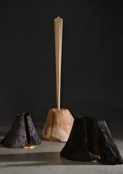 Peng Xiaojia, Landscape Sculpture, 2012; Coloring maple, artificial resin, gilding, Dimension H176cm © Peng Xiaojia