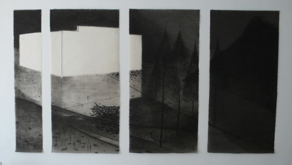 Shen Qin, Black Ink Painting -Metasequoia-White House, 2013; ink on rice paper, 135×2cm, 135×65cm×3