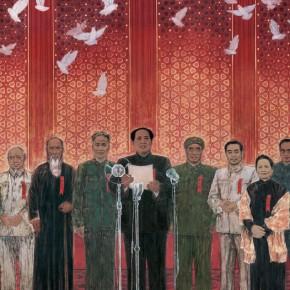 Tang Yongli, The Birth of New China (detail, from the left, Li Jishen, Zhang Lan, Liu Shaoqi, Mao Zedong, Zhu De, Zhou Enlai, Song Qingling and Gao Gang
