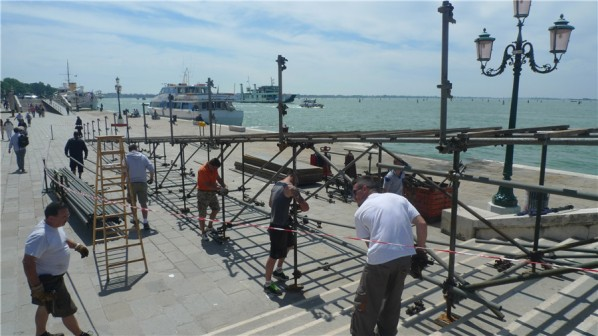 View of the construction site of preparation for the public facilities of the Venice Biennale