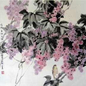 """Xie Qing """"Autumn Hoot"""" 68 x 68 cm 290x290 - Yue Jieqiong: Elegantly Blooming – """"The Ladylike"""" of the Works by Xie Qing"""