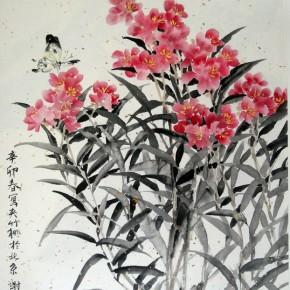 "Xie Qing ""Oleander"" 68 x 45 cm 290x290 - Yue Jieqiong: Elegantly Blooming – ""The Ladylike"" of the Works by Xie Qing"