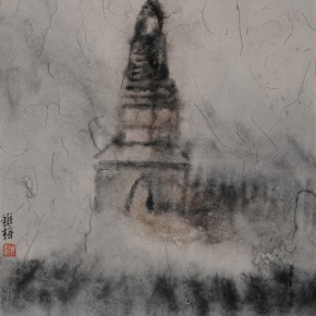 "Zhu Yamei, ""Ancient Tower"", 34 x 46 cm, ink and wash on paper, 2012"