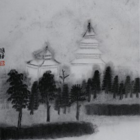 "Zhu Yamei, ""Ancient Towers"", 48 x 50 cm, ink and wash on paper, 2012"