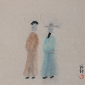 "Zhu Yamei, ""Characters of the Drama"", 34 x 34 cm, ink and wash on paper, 2012"
