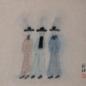 "Zhu Yamei, ""Characters of the Drama No.2"", 34 x 34 cm, ink and wash on paper, 2012"