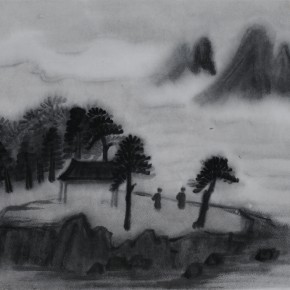 "Zhu Yamei, ""Enjoying the Clouds"", 46 x 38 cm, ink and wash on paper, 2012"