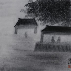 "Zhu Yamei, ""Garden"", 34 x 34 cm, ink and wash on paper, 2012"