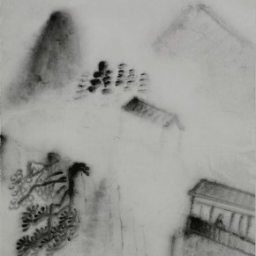 "Zhu Yamei, ""Hanshan Temple"", 34 x 69 cm, ink and wash on paper, 2009"