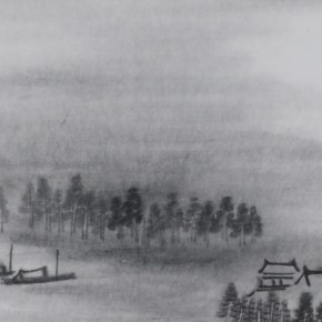 "Zhu Yamei, ""Living in the Cloud""(1), 236 x 40 cm, ink and wash on paper, 2011"