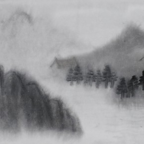 "Zhu Yamei, ""Living in the Cloud""(2), 236 x 40 cm, ink and wash on paper, 2011"