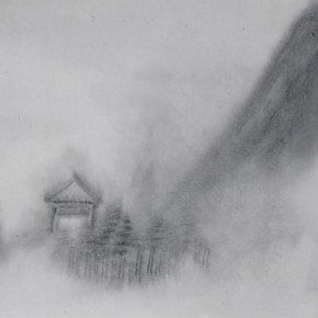 "Zhu Yamei, ""Living in the Cloud No.1"", 138 x 34 cm, ink and wash on paper, 2012"