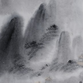 "Zhu Yamei, ""Rain No.1"", 36.5 x 48 cm, ink and wash on paper, 2012"