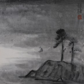 "Zhu Yamei, ""Silence"", 34 x 34 cm, ink and wash on paper, 2012"