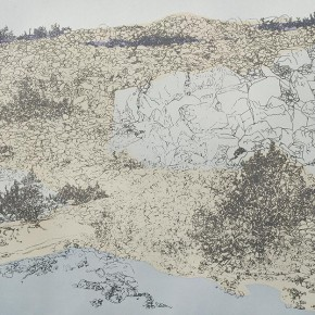 "12 Liu Liping, ""Rockery and Sand Beach"", print"