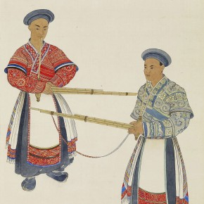 Pang Xunqin Two Men Played Sheng 1941 Watercolor on Silk 64cm×39.5cm Collection Pang Xunqin Museum of Art 290x290 - The Song of Jue Lan: A Retrospective Exhibition of Pang Xunqin's Work opens at Zhejiang Art Museum
