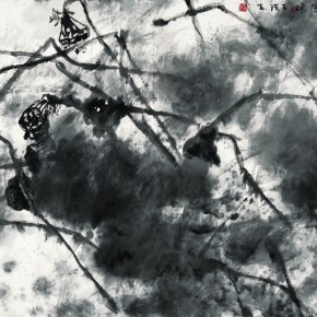 "Wang Huangsheng, ""Ink Lotus No.2"", ink and wash on paper, 240 x 120 cm, 2010"