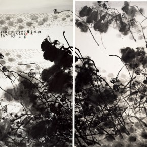 "Wang Huangsheng ""Integration of Autumn Water and Distant Sky"" ink and wash on paper 400 x 330 cm 2013 290x290 - Boundless: Wang Huangsheng's Works (2009-2013) Inaugurated at Hubei Museum of Art"