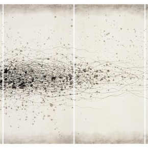 "Wang Huangsheng, ""Losgelöst No. 80"", ink and wash on paper, 280 x 140 cm, 2013"