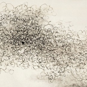 "Wang Huangsheng, ""Losgelöst No. 87"", ink and wash on paper, 140 x 70 cm, 2011"