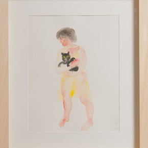 "Zhang Chunyang ""Hold a Cat Figure Series""08 29 x 36 cm watercolor on paper 2010  290x290 - ""My Style My Color"" Group Exhibition - Zhang Chunyang, Zhu Peihong, Qin Weihong Opened at UP SPACE"