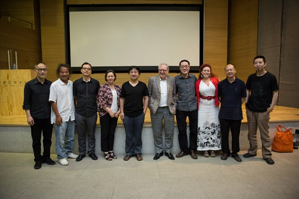 Group Photo of Honored Guests Present at the Lecture by David Elliott Held at CAFAM