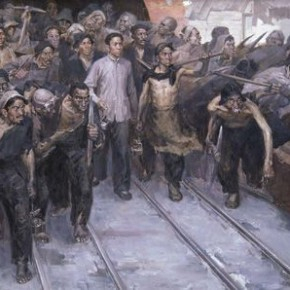 "04 Hou Yimin ""Liu Shaoqi and Anyuan Miners"" oil on canvas 160 x 330 cm 1961 290x290 - ""Academic Interpretation Exhibition of Hou Yimin's Two Paintings of History"" Debuted at the National Art Museum of China"