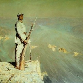 "07 Chen Yifei, ""Ode to the Yellow River"", oil on canvas, 143.5 x 297 cm, 1972"