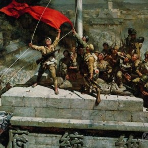 """08 Chen Yifei """"Occupied the Presidential Palace"""" oil on canvas 1977 290x290 - Passing on the Torch – Exhibitions of Chen Yifei's Document and Xia Baoyuan's Works Inaugurated in Shanghai"""