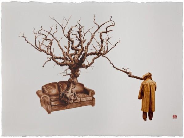 """29 Ya Kai, """"The Past is As Short As Life"""", 57 x 77 cm, Pu'er tea, Black tea"""