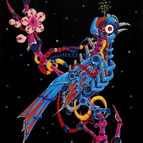 "31 Wang Xi ""Flower and Bird No.1"" 130 x 97.5 cm acrylic on canvas 2012 290x290 - The Initiating Exhibition of ""Art Nova 100"" 2013 Held in Beijing"