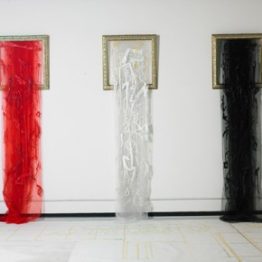 Cui Xianji Red White Black Falls 2007 installation 250x100cmx3 290x290 - A Decade of Cursive Writing: Exhibition of Work by Cui Xianji Opening September 15 at Yuan Art Museum