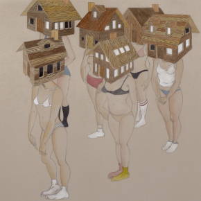 "Fay Ku Safe as Houses 2013 Graphite Watercolor Gouache and Ink on Ivory Fabriana Rosaspina Paper1 290x290 - He Xiangning Art Museum presents ""Local Futures"" featuring works by 22 young overseas Chinese artists"