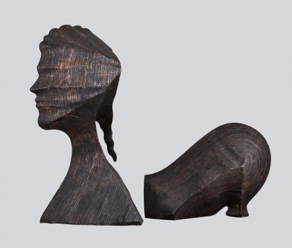 Ray Smith, Mariana, 2012; woodcutting, head 244x122x122cm, body 122x183x122cm