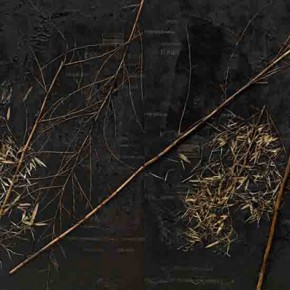 Shang Yang Washing Bamboo 2013 Tar Clue and Bamboo on Canvas 216x538cm 290x290 - Solo Exhibition of Shang Yang's Art Opening September 11 in Suzhou