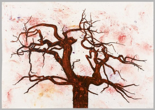 Tony Bevan, Tree (no.2)(PP1220), 2012; Acrylic and charcoal on paper, 85.7x121.9cm