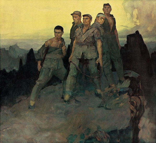 "Zhan Jianjun, ""Five Heroes on Langya Mountain"", oil on canvas, 185 x 200 cm, collection Military Museum of the Chinese People's Revolution"