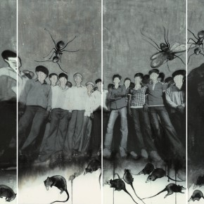 """Zhang Zhengmin """"Surrounded·Watch"""" ink and mixed media on paper 96 x 230 cm 2013  290x290 - """"Ink Files"""" in Its First Round: China and South Korea Invited Contemporary Ink Painting Exhibition"""