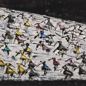 """Qiao Xiaoguang """"Sun Stone"""" 95 x 178 cm 2013 290x290 - Contrasting Worlds – The Ink Art of Qiao Xiaoguang on Display in Beijing 798 Art Zone"""