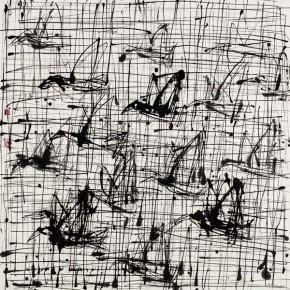 """Qiao Xiaoguang """"Sunbirds"""" 124 x 124 cm 290x290 - Contrasting Worlds – The Ink Art of Qiao Xiaoguang on Display in Beijing 798 Art Zone"""