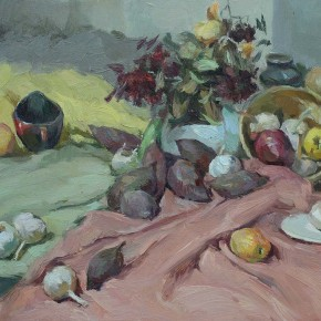 """Shen Cuiping """"Still Life"""" oil painting 45 x 60 cm color teaching system – Wang Huaxiang's five step methods· senior practice of color 290x290 - Carry The Tiger Down The Mountain: Works of Wang Huaxiang and His Students"""