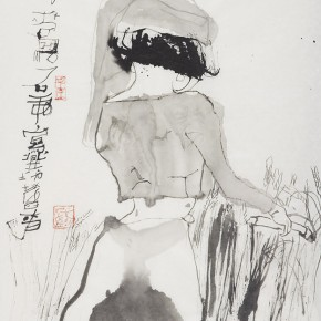 "Shi Hu ""Mow Wheat"" 76 x 48 cm ink on paper 2013  290x290 - Beijing Exhibition of Chinese Painting and Calligraphy by Shi Hu grandly opened at National Art Museum of China"