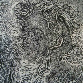 """Wu Lin """"Yearning in the Winter"""" 42 x 35.6 cm woodcut print 2007 290x290 - Carry The Tiger Down The Mountain: Works of Wang Huaxiang and His Students"""