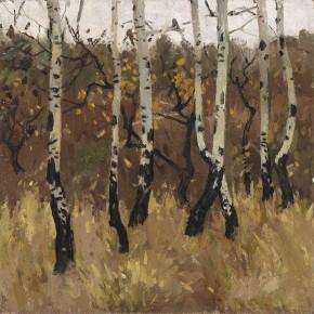 "Xing Guozhen, ""Autumn Landscape"", oil painting, 50.8 x 50.8 cm, 1978"