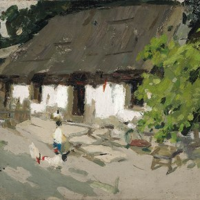 "Xing Guozhen, ""Green Trees, White Walls, Child"", oil painting, 38.8 x 25.8 cm, 1962"