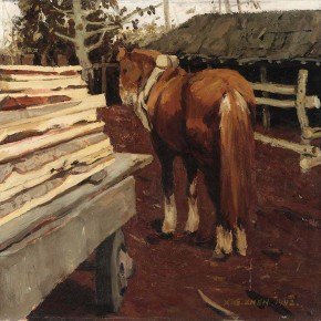 """Xing Guozhen, """"Horse and Timbers"""", 73.5 x 71.5 cm, 1992"""