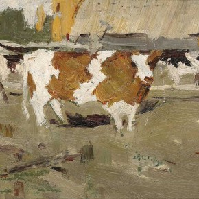 "Xing Guozhen, ""Piebald Cow"", oil painting, 26.5 x 19.3 cm, 1960"