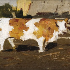 "Xing Guozhen, ""Piebald Cow with Yellow and White"", oil painting, 30 x 19 cm, 1960"